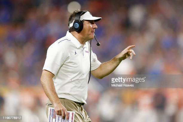 Head coach Dan Mullen of the Florida Gators reacts against the Virginia Cavaliers during the second half of the Capital One Orange Bowl at Hard Rock...