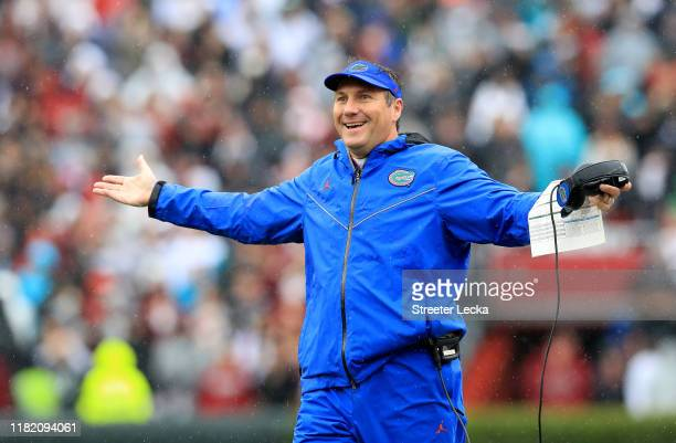 Head coach Dan Mullen of the Florida Gators reacts during their game against the South Carolina Gamecocks at Williams-Brice Stadium on October 19,...