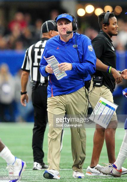 Head coach Dan Mullen of the Florida Gators reacts in the second quarter against the Michigan Wolverines during the Chick-fil-A Peach Bowl at...
