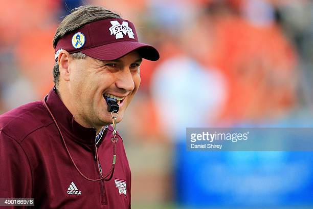 Head coach Dan Mullen of the Mississippi State Bulldogs looks on during warm ups prior to the game against the Auburn Tigers at Jordan Hare Stadium...