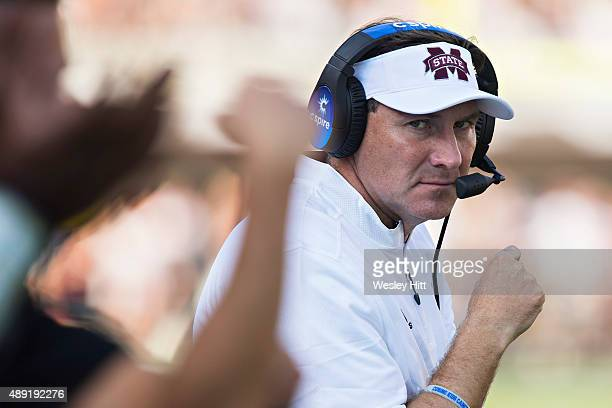 Head Coach Dan Mullen of the Mississippi State Bulldogs on the sidelines during a game against the Northwestern State Demons at Davis Wade Stadium on...