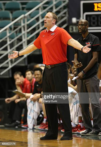 Head coach Dan Muller of the Illinois State Redbirds gestures to the officials as he asks for an explanation of a call during the first half of the...