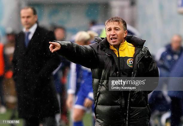 Head coach Dan Petrescu of FC Kuban Krasnodar gestures during the Russian Football League Championship match between FC Dynamo Moscow and FC Kuban...