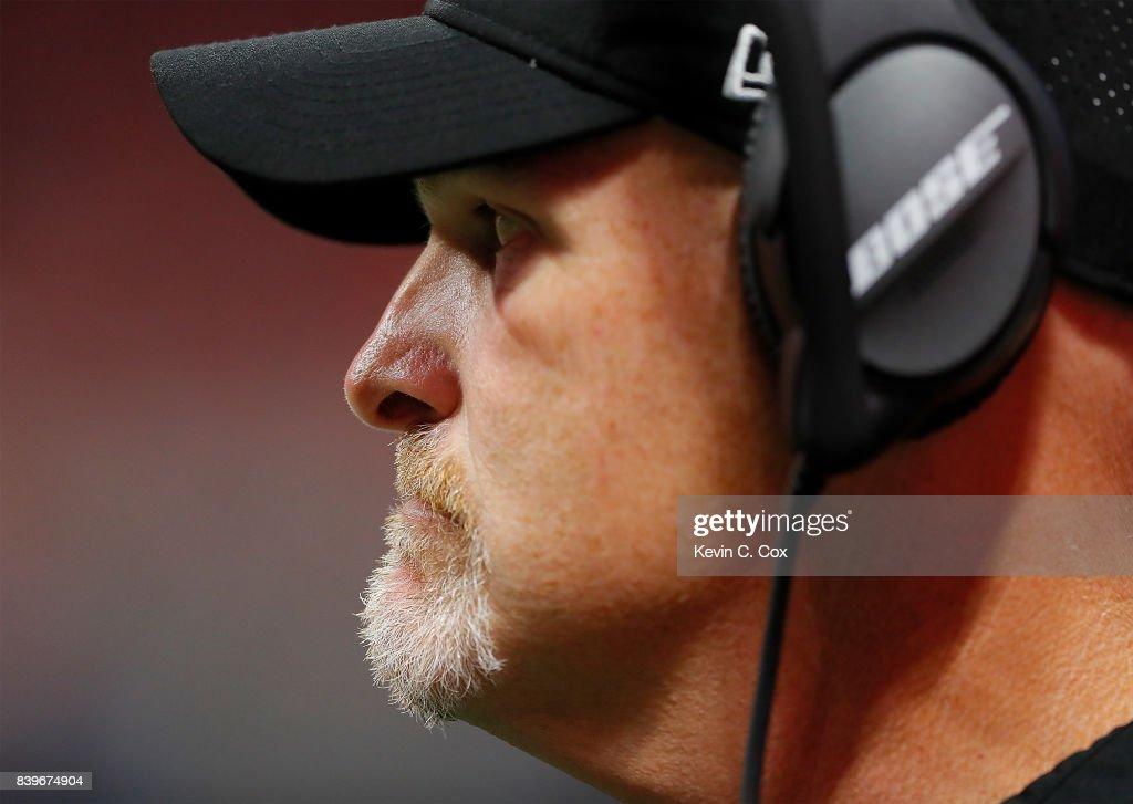 Head coach Dan Quinn of the Atlanta Falcons looks on during the game against the Atlanta Falcons at Mercedes-Benz Stadium on August 26, 2017 in Atlanta, Georgia.