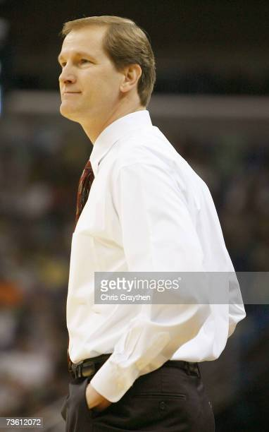Head coach Dana Altman of the Creighton Bluejays looks on from the sidelines during first half against the Nevada Wolf Pack in round one of the NCAA...