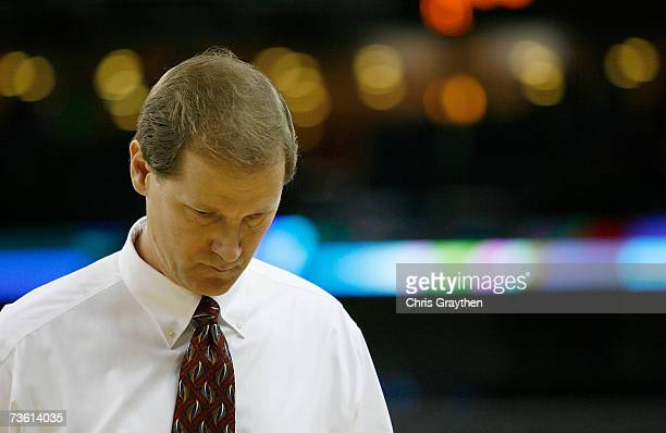 Head coach Dana Altman of the Creighton Bluejays walks off the court after being knocked out of round one of the NCAA Men's Basketball Tournament...