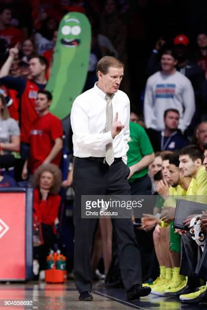 Head coach Dana Altman of the Oregon Ducks gestures at the bench during the first half of the college basketball game against the Arizona Wildcats at...