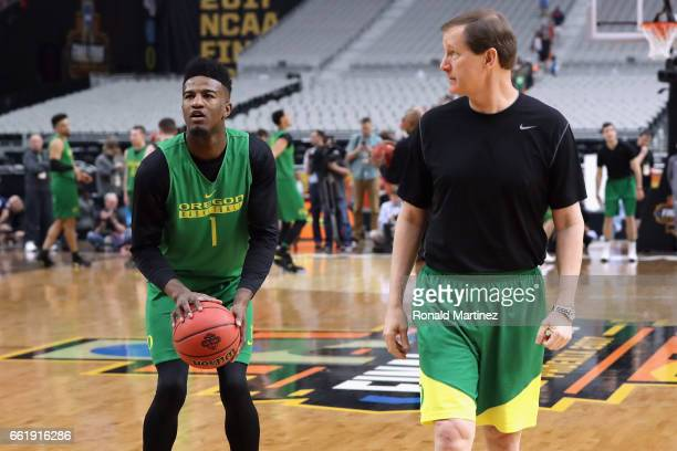 Head coach Dana Altman of the Oregon Ducks looks on as Jordan Bell practices ahead of the 2017 NCAA Men's Basketball Final Four at University of...