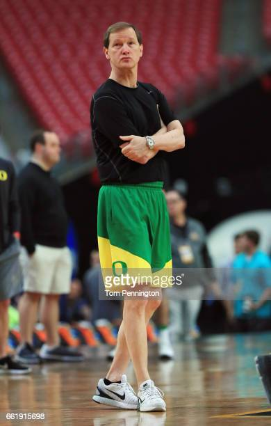 Head coach Dana Altman of the Oregon Ducks looks on in practice ahead of the 2017 NCAA Men's Basketball Final Four at University of Phoenix Stadium...