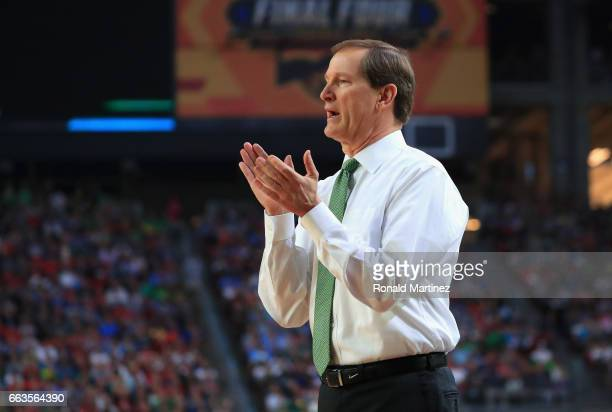 Head coach Dana Altman of the Oregon Ducks reacts in the first half against the North Carolina Tar Heels during the 2017 NCAA Men's Final Four...