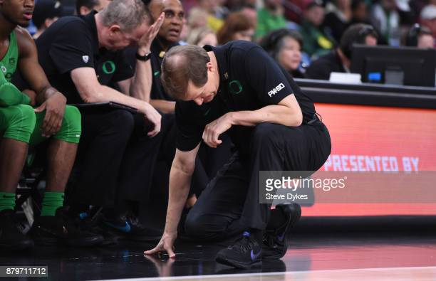 Head coach Dana Altman of the Oregon Ducks reacts to a play during the second half of the game against the Oklahoma Sooners during the PK80Phil...