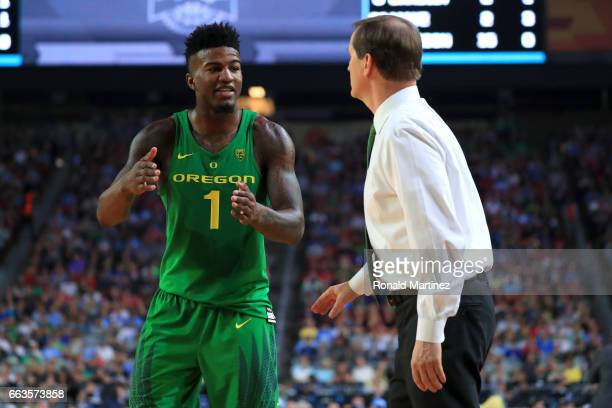 Head coach Dana Altman of the Oregon Ducks speaks to Jordan Bell in the second half against the North Carolina Tar Heels during the 2017 NCAA Men's...