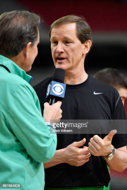 Head coach Dana Altman of the Oregon Ducks speaks to TV personality Jim Nantz during practice ahead of the 2017 NCAA Men's Final Four at University...