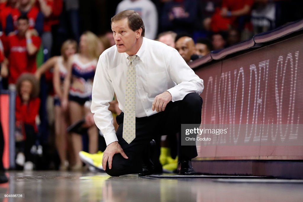 Head coach Dana Altman of the Oregon Ducks watches the action during the first half of the college basketball game against the Arizona Wildcats at McKale Center on January 13, 2018 in Tucson, Arizona.