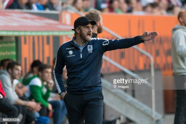 Head coach Daniel Bierofka gestures during the Regionalliga Bayern match between FC Augsburg II and 1860 Muenchen at WWK ARENA on October 14 2017 in...