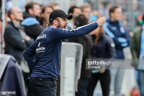 Head coach Daniel Bierofka of 1860 Muenchen gestures during the match between TSV 1860 Muenchen and Bayern Muenchen II at Stadion an der Grünwalder...