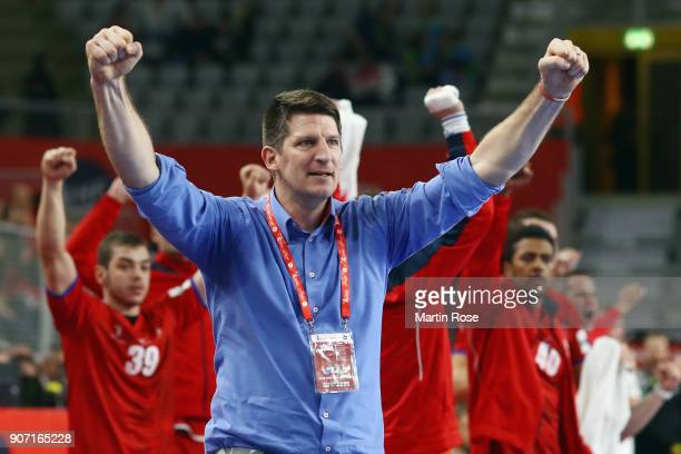 Head coach Daniel Kubes of Czech Republic celebrates during the Men's Handball European Championship main round group 2 match between Germany and...