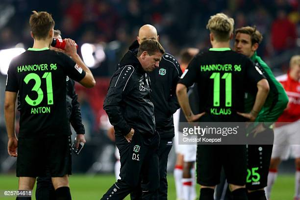 Head coach Daniel Stendel of Hannover looks dejected after the Second Bundesliga match between Fortuna Duesseldorf and Hannover 96 at EspritArena on...