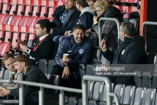 Head Coach Danny Cowley of Portsmouth FC watches from the stands during the Premier League Cup match between AFC Bournemouth U23 and Arsenal U23 at...