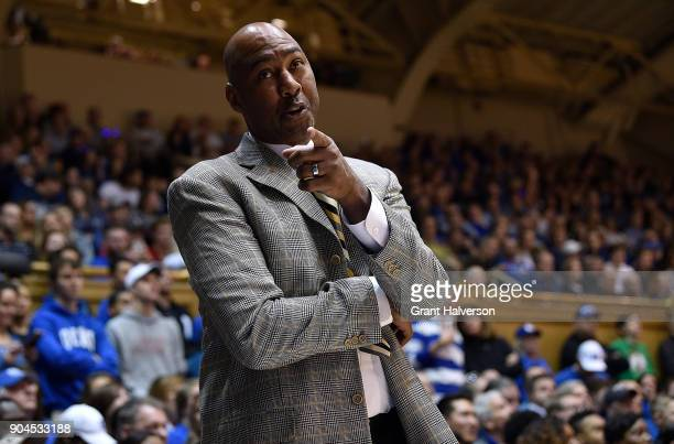 Head coach Danny Manning of the Wake Forest Demon Deacons reacts during their game against the Duke Blue Devils at Cameron Indoor Stadium on January...