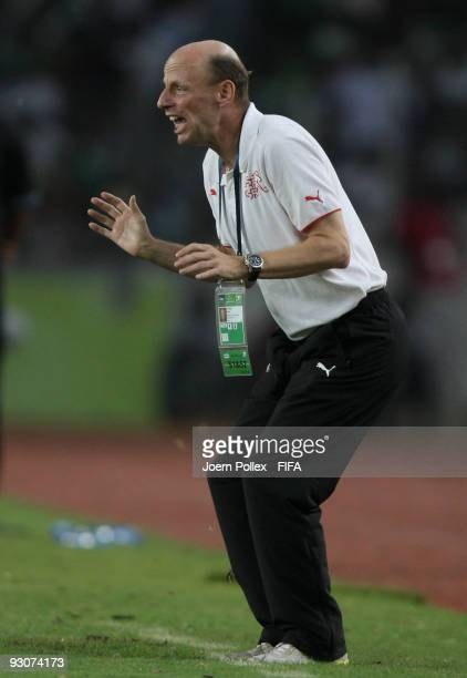 Head coach Dany Ryser of Switzerland gestures during the FIFA U17 World Cup Final between Switzerland and Nigeria at the Abuja National Stadium on...