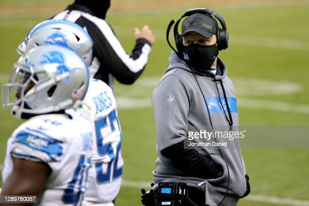 Head coach Darrell Bevell of the Detroit Lions looks on against the Chicago Bears during the second half at Soldier Field on December 06, 2020 in...