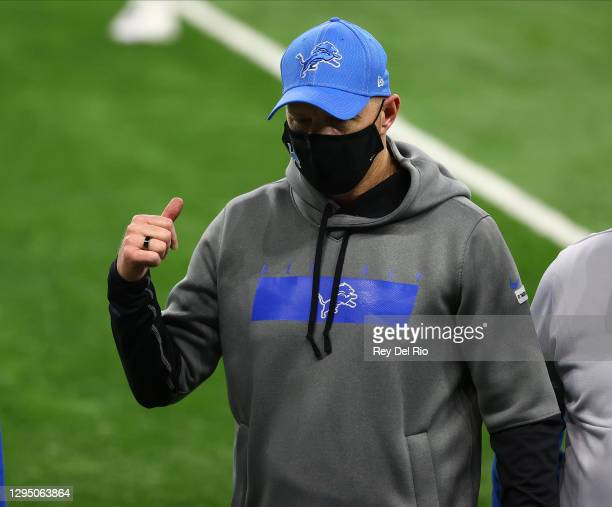 Head coach Darrell Bevell of the Detroit Lions walks off the field after a game against the Minnesota Vikings at Ford Field on January 3, 2021 in...