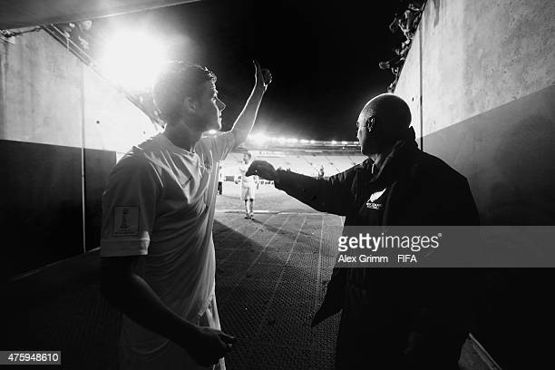 Head coach Darren Bazeley and Alex Rufer of New Zealand wave to the fans after the FIFA U20 World Cup New Zealand 2015 Group A match between Myanmar...