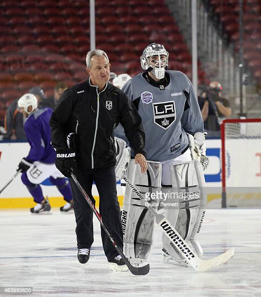 Head coach Darryl Sutter and Jonathan Quick of the Los Angeles Kings take part in a practice at Levi's Stadium on February 20 2015 in Santa Clara...