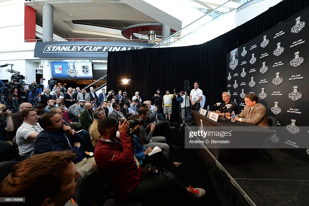 Head coach Darryl Sutter and President and General Manager Dean Lombardi of the Los Angeles Kings speak to the media during the 2014 NHL Stanley Cup Final Media Day at Staples Center on June 3, 2014 in Los Angeles, California.
