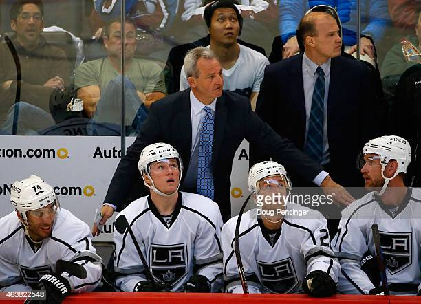 Head coach Darryl Sutter of the Los Angeles Kings leads his team against the Colorado Avalanche at Pepsi Center on February 18 2015 in Denver...