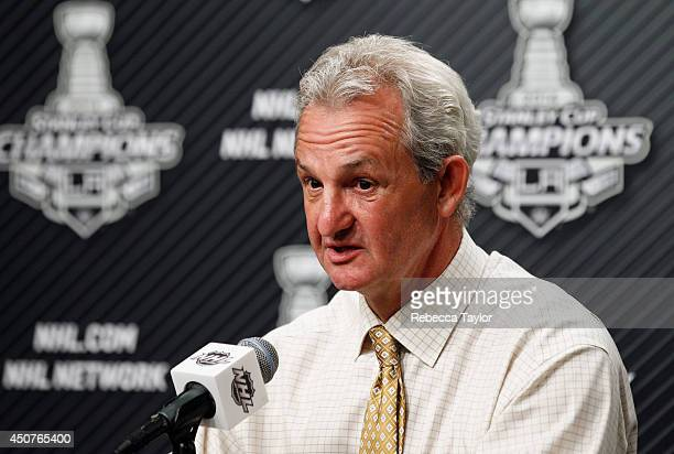 Head coach Darryl Sutter of the Los Angeles Kings speaks to the media after his team won Game Five 32 in double overtime over the New York Rangers in...