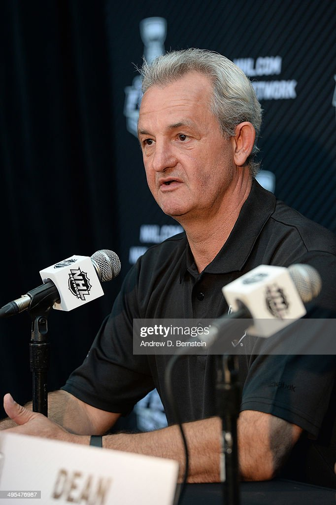 Head coach Darryl Sutter of the Los Angeles Kings speaks to the media during the 2014 NHL Stanley Cup Final Media Day at Staples Center on June 3, 2014 in Los Angeles, California.