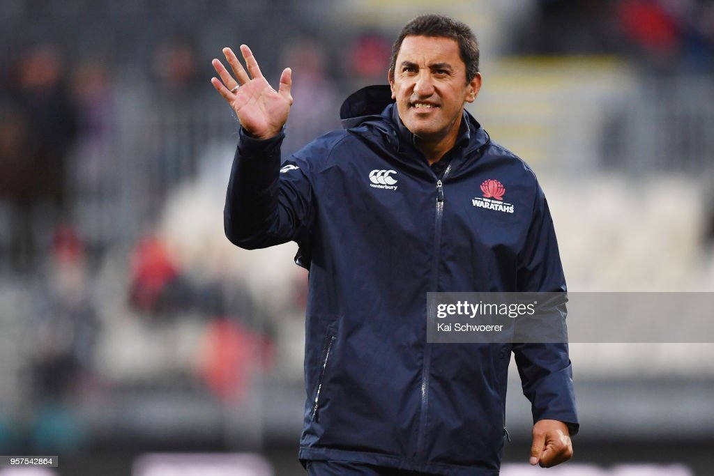Head Coach Daryl Gibson of the Waratahs reacts prior to the round 12 Super Rugby match between the Crusaders and the Waratahs at AMI Stadium on May 12, 2018 in Christchurch, New Zealand.