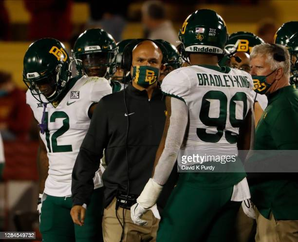 Head coach Dave Aranda of the Baylor Bears coaches during as time out in the first half of the play at Jack Trice Stadium on November 07, 2020 in...