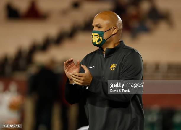 Head coach Dave Aranda of the Baylor Bears coaches during pre game warm ups at Jack Trice Stadium on November 07, 2020 in Ames, Iowa. The Iowa State...