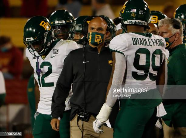 Head coach Dave Aranda of the Baylor Bears looks on from the sidelines during a time out in the first half of the play against the Iowa State...