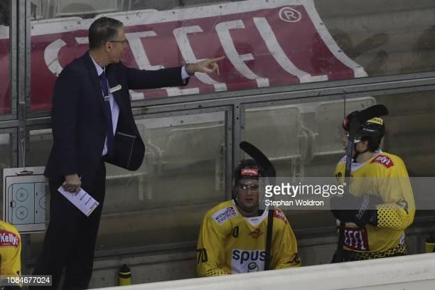 Head Coach Dave Cameron of Vienna and Benjamin Nissner of Vienna during the Vienna Capitals v EC VSV Erste Bank Eishockey Liga at Erste Bank Arena on...