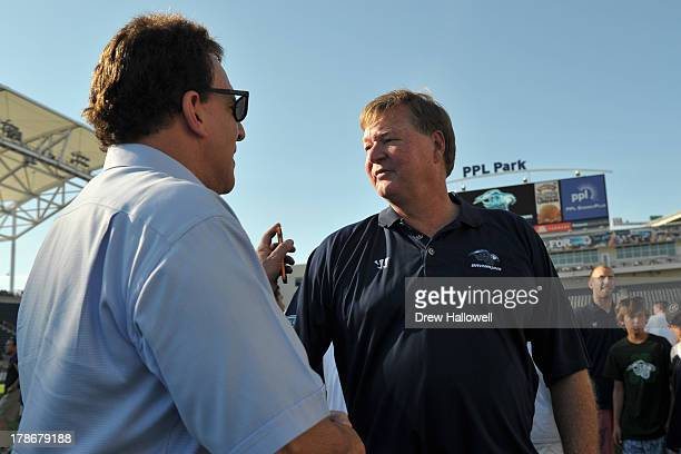 Head coach Dave Cottle of the Chesapeake Bayhawks talks to Jake Steinfeld after the game against the Charlotte Hounds during the MLL Championship at...
