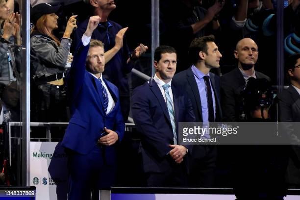 Head coach Dave Hakstol of the Seattle Kraken is introduced prior to the Kraken's inaugural home opening game against the Vancouver Canucks on...