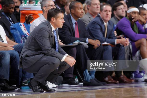 Head coach Dave Joerger of the Sacramento Kings coaches against the New Orleans Pelicans on October 26 2017 at Golden 1 Center in Sacramento...