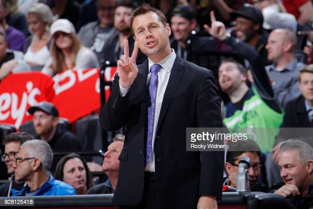 Head coach Dave Joerger of the Sacramento Kings coaches against the Minnesota Timberwolves on February 26 2018 at Golden 1 Center in Sacramento...