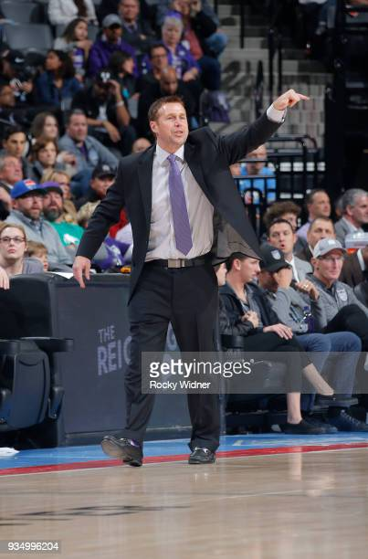 Head coach Dave Joerger of the Sacramento Kings coaches against the Miami Heat on March 14 2018 at Golden 1 Center in Sacramento California NOTE TO...