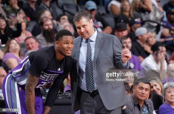 Head coach Dave Joerger of the Sacramento Kings coaches Ben McLemore against the Houston Rockets on April 9 2017 at Golden 1 Center in Sacramento...