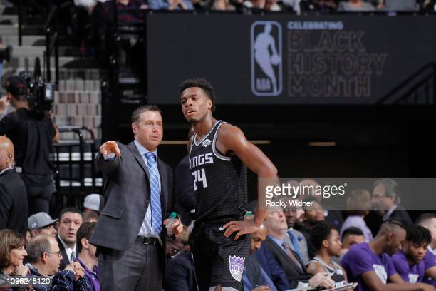 Head coach Dave Joerger of the Sacramento Kings coaches Buddy Hield against the Philadelphia 76ers on February 2 2019 at Golden 1 Center in...