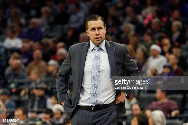 Head coach Dave Joerger of the Sacramento Kings looks on during the game against the Toronto Raptors at Golden 1 Center on December 10 2017 in...