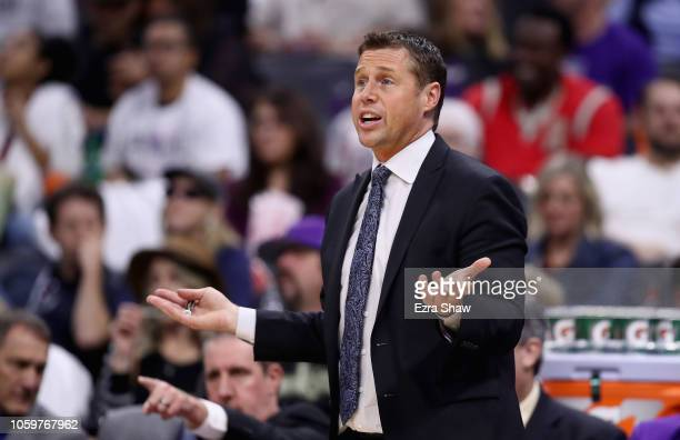 Head coach Dave Joerger of the Sacramento Kings questions a call during their game against the Utah Jazz at Golden 1 Center on October 17 2018 in...