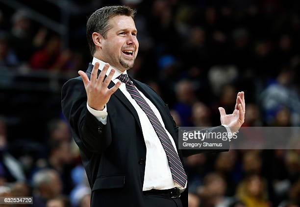 Head coach Dave Joerger of the Sacramento Kings reacts to a foul call while playing the Detroit Pistons at the Palace of Auburn Hills on January 23...