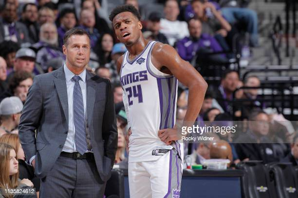 Head coach Dave Joerger of the Sacramento Kings talks to Buddy Hield during the game against the Houston Rockets on April 2 2019 at Golden 1 Center...