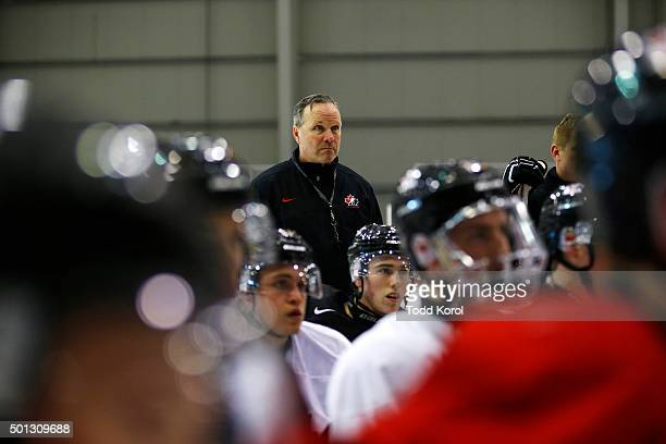 Head coach Dave Lowry starts the practice with his players during their World Junior hockey hockey selection camp in Toronto Ontario